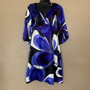 Bisou Bisou Michele Bohbot Blue V Neck Dress Open